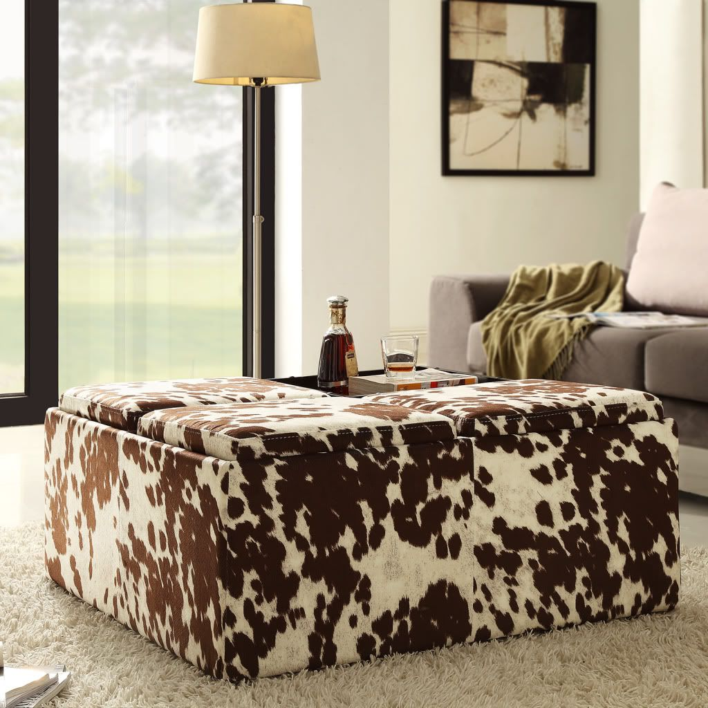 437-910 - Homebasica Cowhide Print Four Tray Storage Ottoman