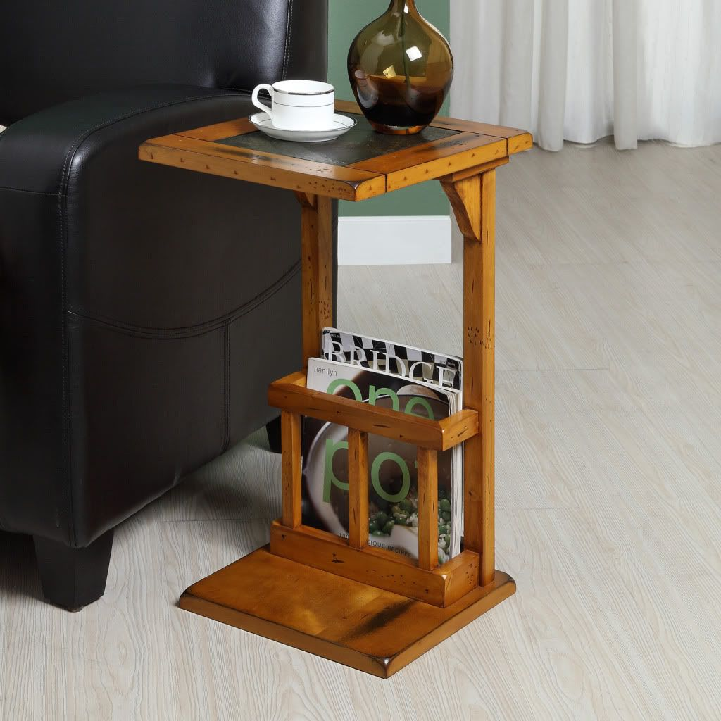 437-911 - Homebasica Slate Accent Oak Side Table w/ Storage