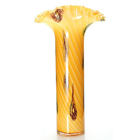 437-913 - Favrile 20.5'' Hand-Blown Art Glass Oasis Tail Ruffle Vase