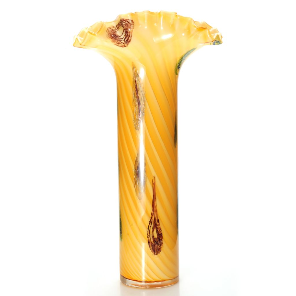 "437-913 - Favrile 20.5"" Hand-Blown Art Glass Oasis Tail Ruffle Vase"
