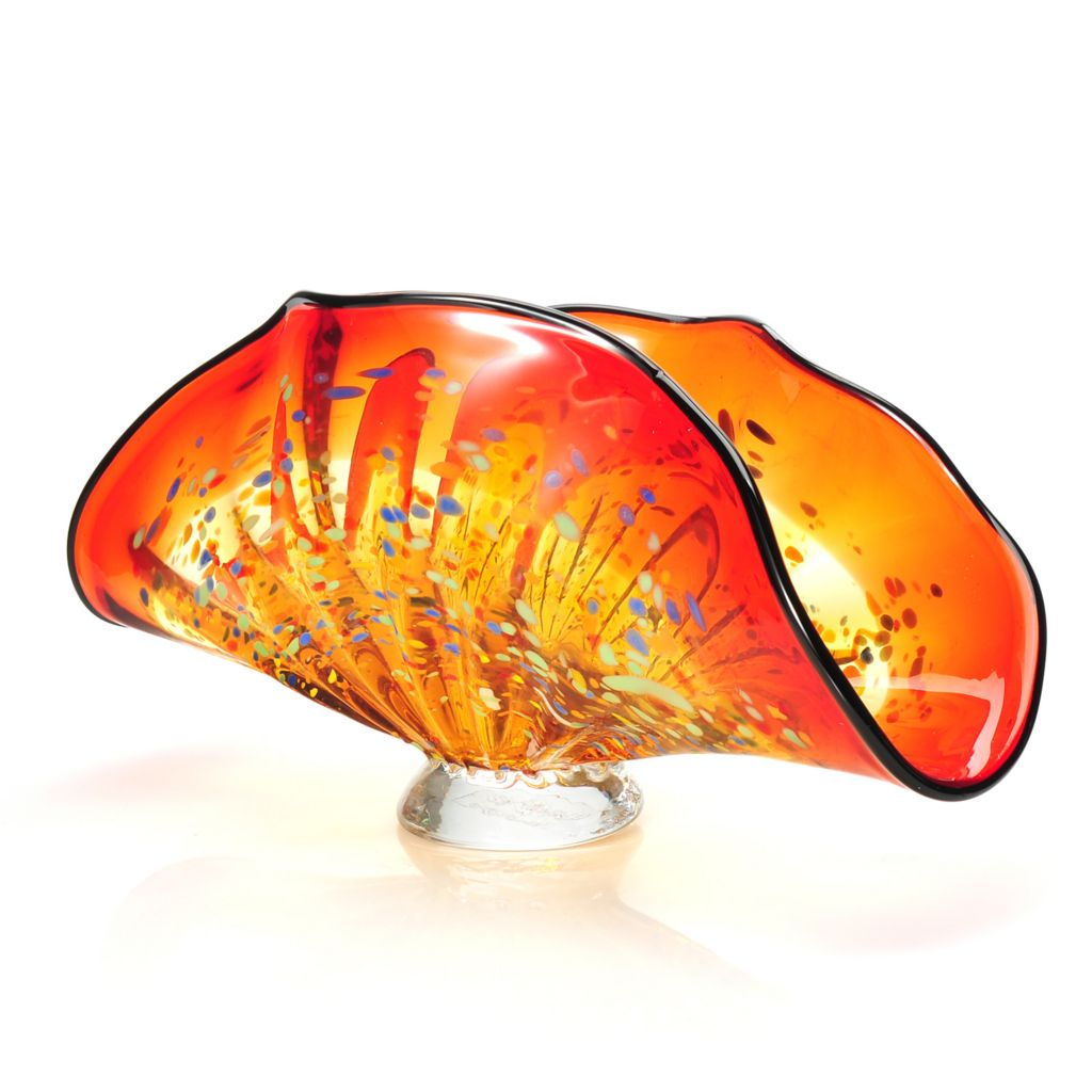"437-916 - Favrile 6"" Hand-Blown Art Glass Indiana Footed Bowl"
