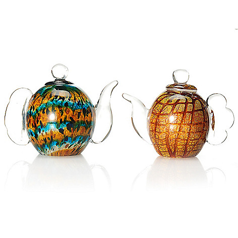 437-917 - Favrile Hand-Blown Art Glass Inferno & Coastal Teapot Figurine Pair