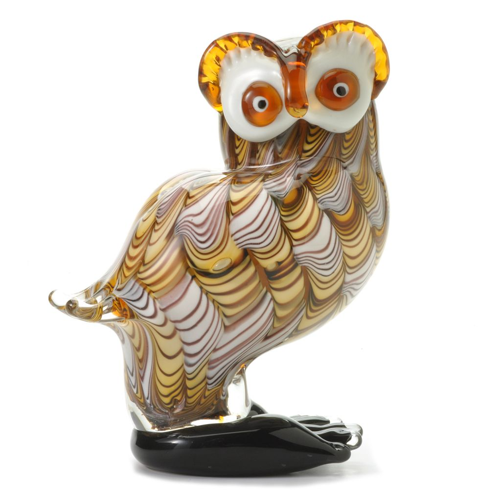"437-919 - Favrile 8.25"" Hand-Blown Art Glass Spotted Owl Figurine"