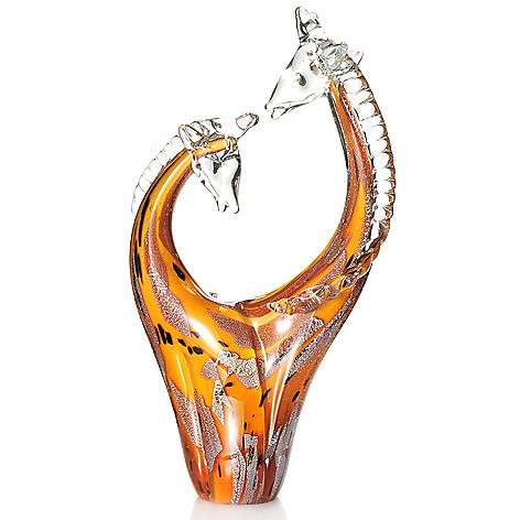 437-923 - Favrile 15.25'' Hand-Blown Art Glass Affectionate Giraffes Figurine
