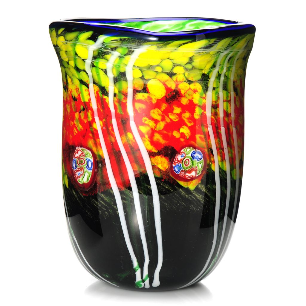 "437-924 - Favrile 10.25"" Hand-Blown Art Glass Autumn Forest Vase"