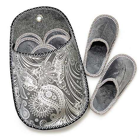 437-928 - North Shore Linens™ Six Pairs of Unisex Microfleece Slippers w/ Holder