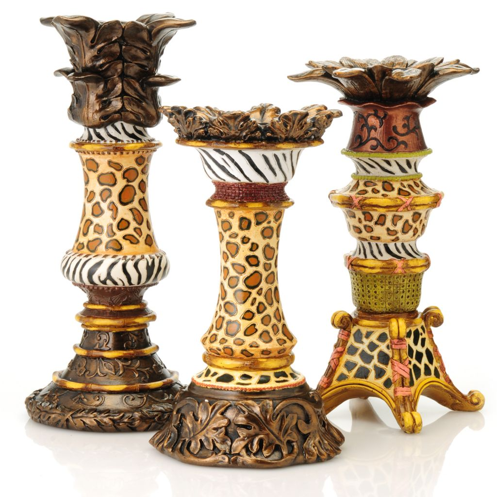 437-944 - Style at Home with Margie Three-Piece Animal Print Candle Holder Set