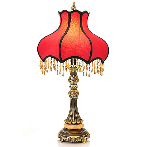 437-946 - Style at Home with Margie 27.5'' Beaded Scarlet Victorian-Inspired Table Lamp