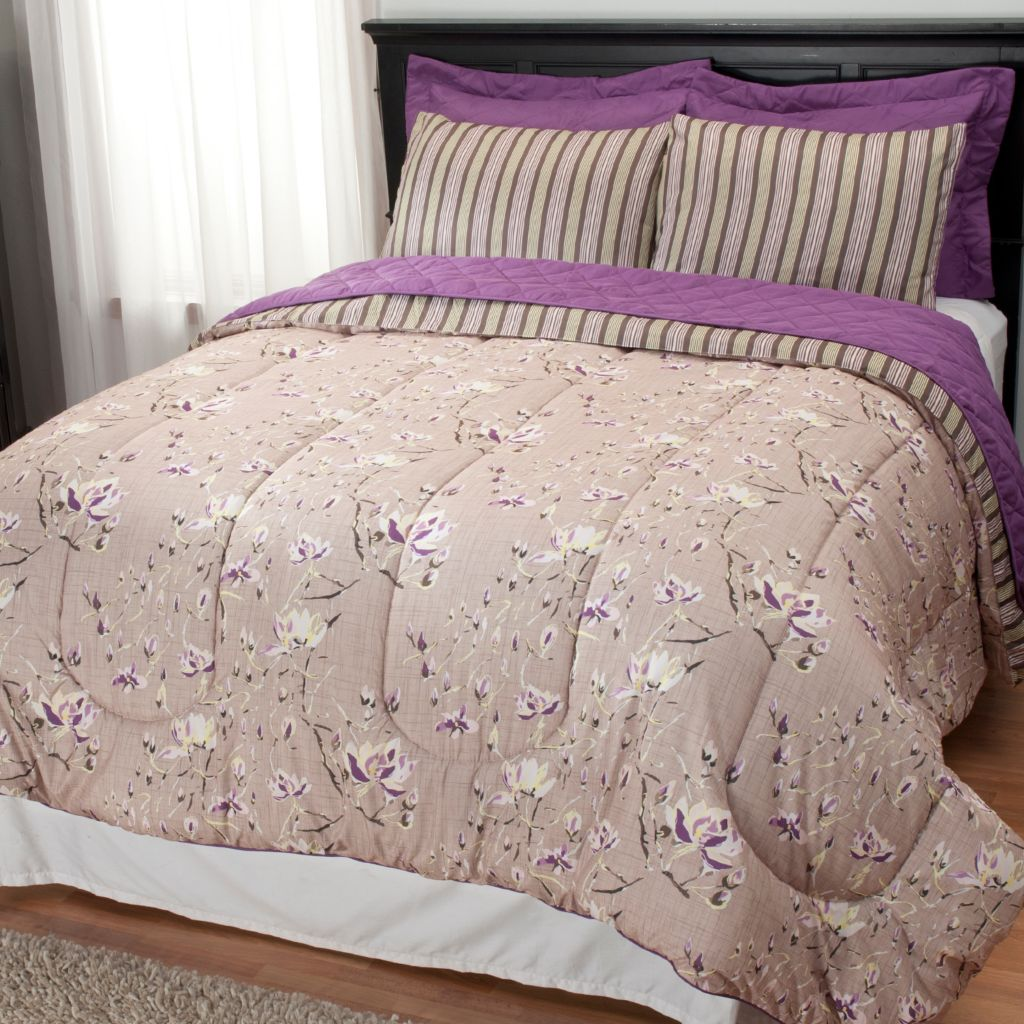 437-975 - North Shore Linens™ Floral Comforter & Quilted Six-Piece Coverlet Set