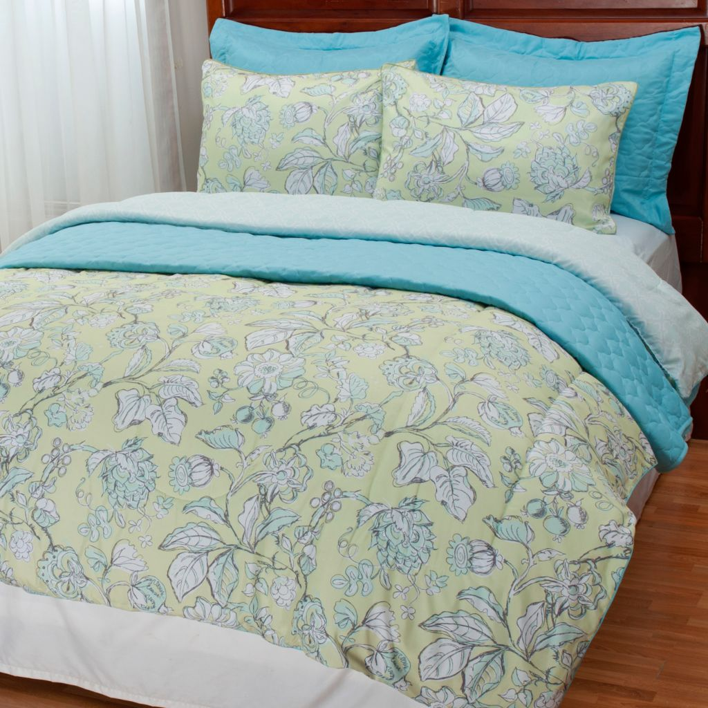 437-976 - North Shore Linens™ Sketched Floral Six-Piece Comforter & Coverlet Set