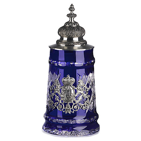438-001 - KING-WERK™ Lord of Crystal Blue Bavarian Crystal Stein w/ Facon Lid