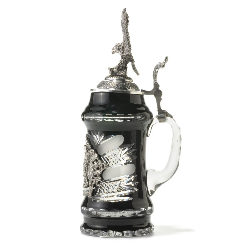 438-003 - King-Werk™ Lord of Crystal Black German Crystal Stein w/ Flying Eagle Lid