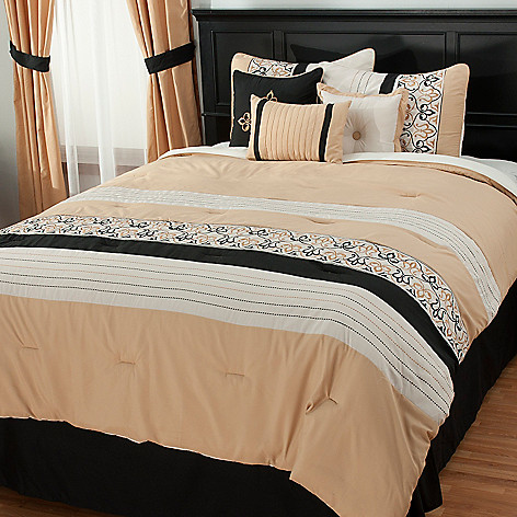 438-053 - North Shore Linens™ Scrollwork Embroidered Seven-Piece Bedding Ensemble