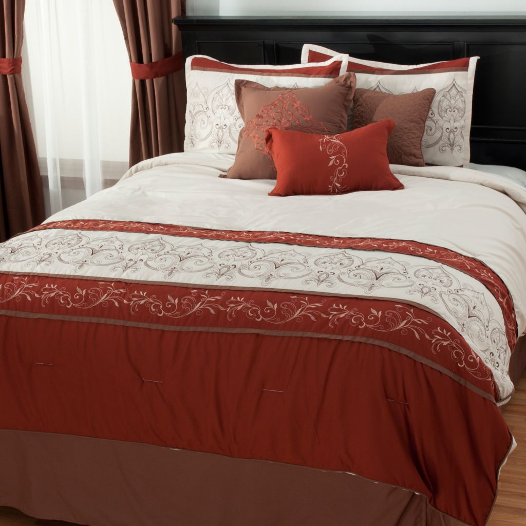 438-056 - North Shore Linens™ Embroidered Panel Bedding Ensemble