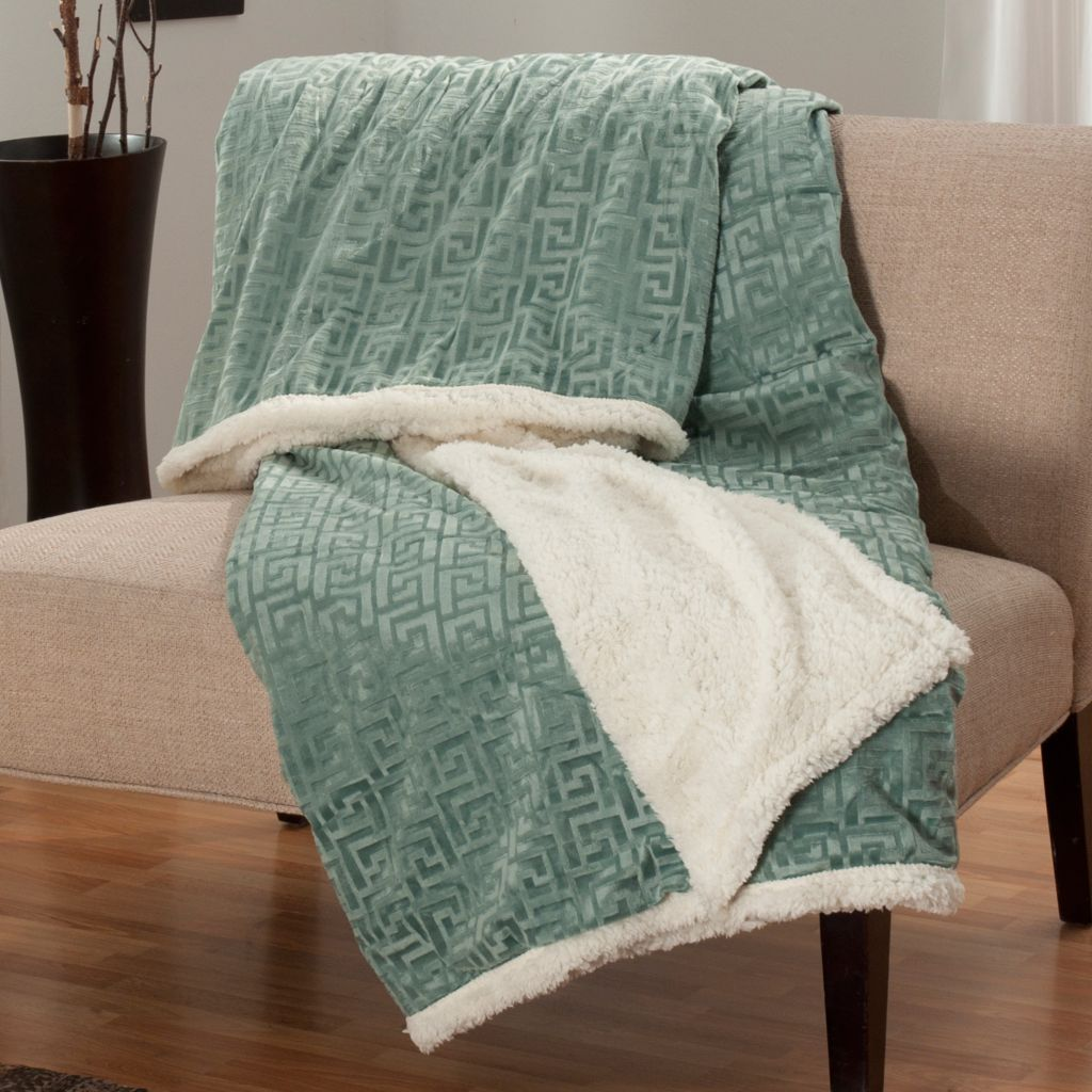 "438-073 - North Shore Linens™ Greek Key Faux Mink & Sherpa 95"" x 78"" Reversible Throw"