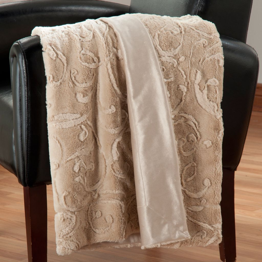 "438-074 - North Shore Linens™  60"" x 50"" Faux Fur Throw"