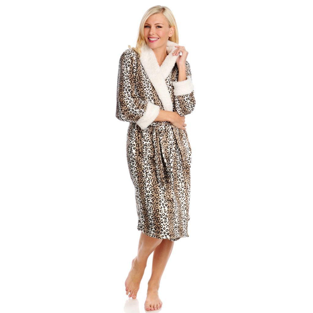438-081 - North Shore Linens™ Plush & Sherpa Trim Robe w/ Gift Box