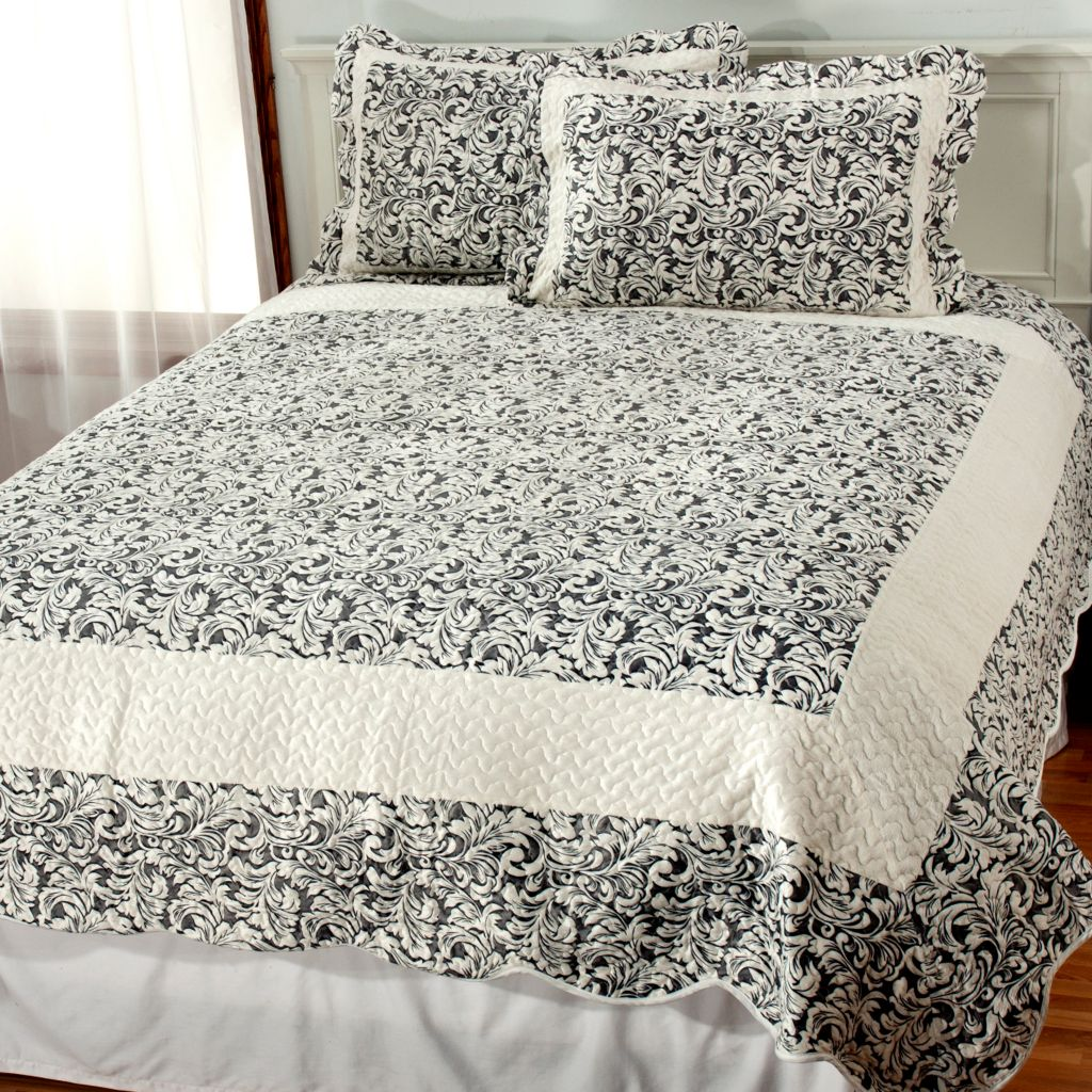 438-083 - North Shore Linens™ Faux Fur Quilted Leaf Three-Piece Quilt Set