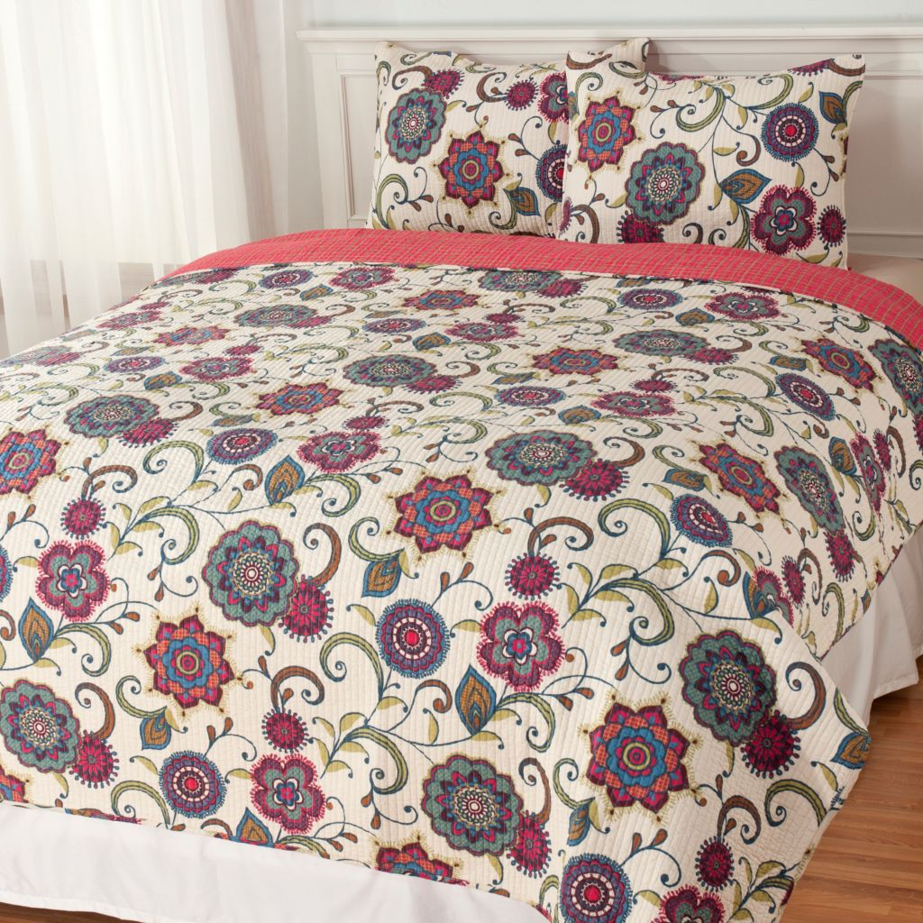 438-098 - North Shore Linens™ Three-Piece Cotton Floral Medallion Coverlet Set