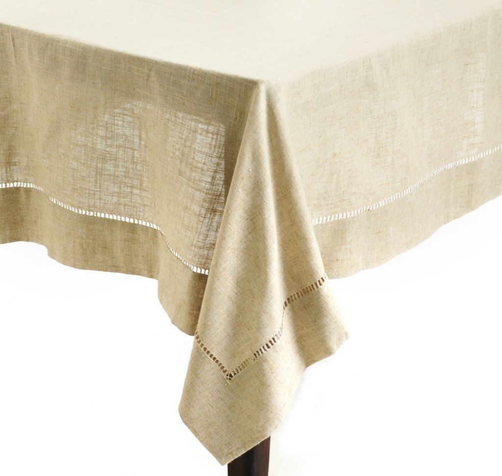 "438-117 - Jorge Pérez 104"" x 65""Poly/Linen Blend Hemstitched Tablecloth"