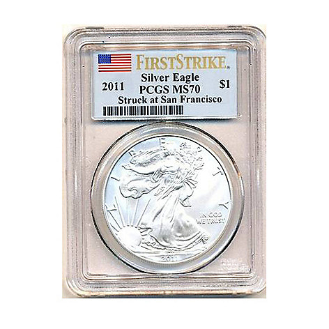 438-179 - 2011 Silver American Eagle MS70 PCGS (Struck in San Francisco) Coin w/ Slab