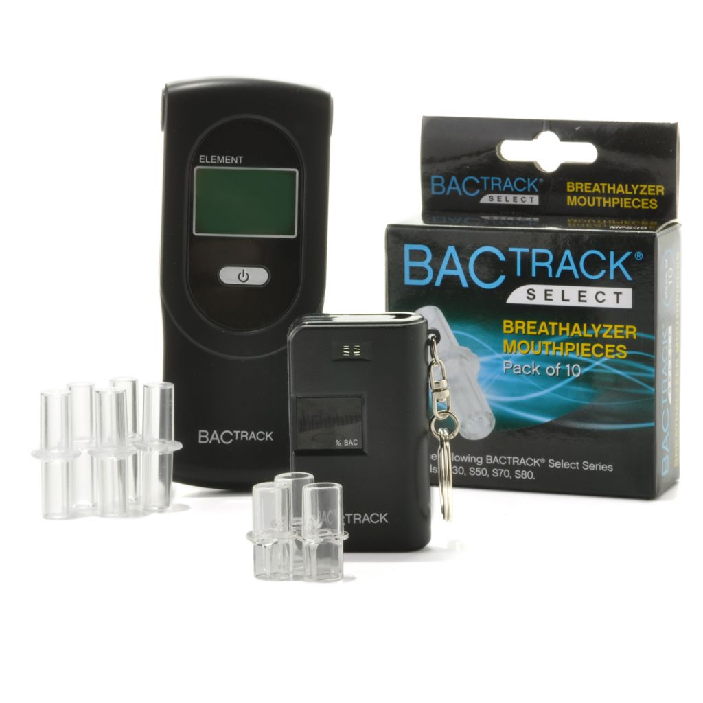 438-240 - BACtrack Element Breathalyzer, Key Chain Breathalyzer & 10-Pack of Extra Mouthpieces