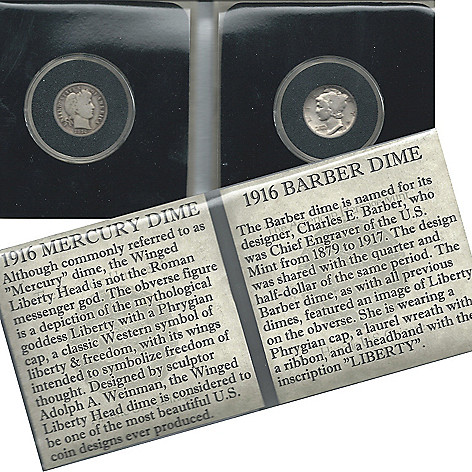 438-358 - 1916 Silver Dime Collection Barber & Mercury Circulated Coins