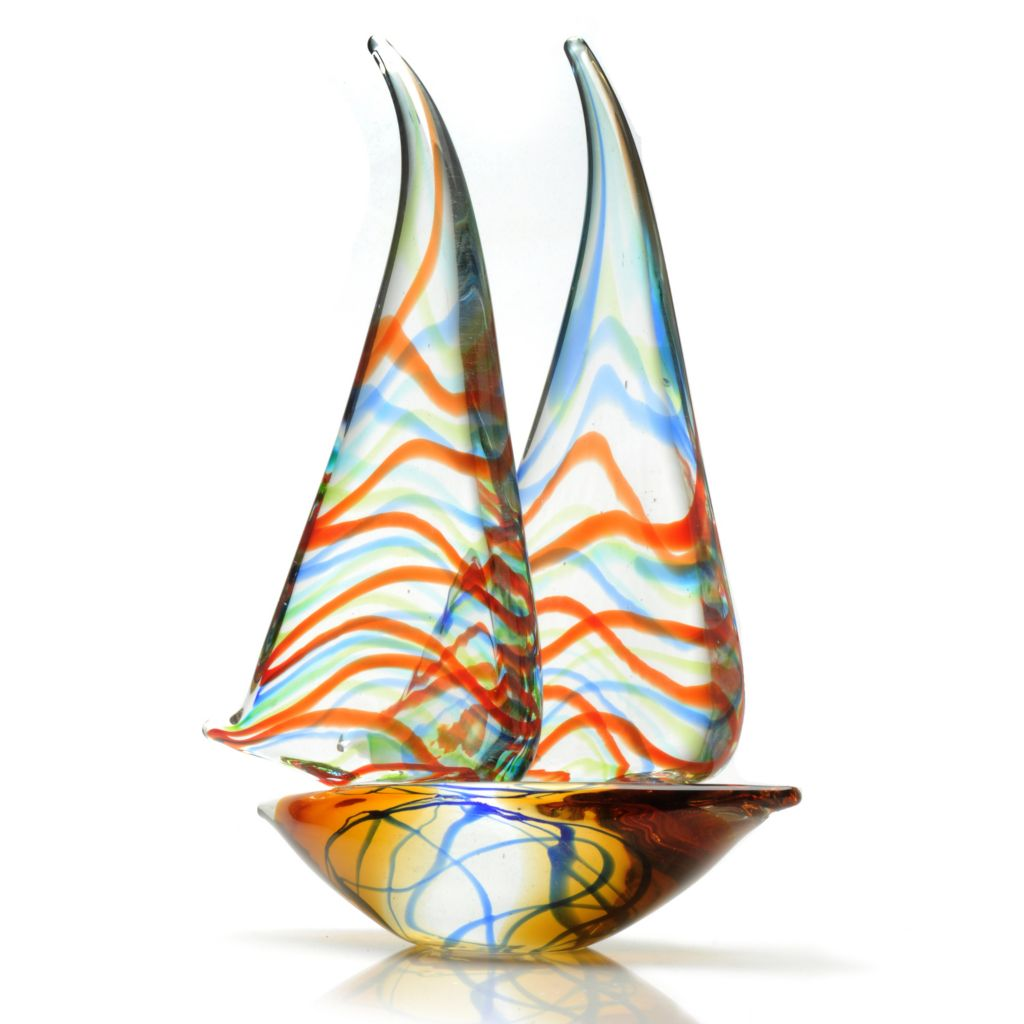 "438-425 - Favrile 13.5"" Hand-Blown Art Glass Sailboat Figurine"