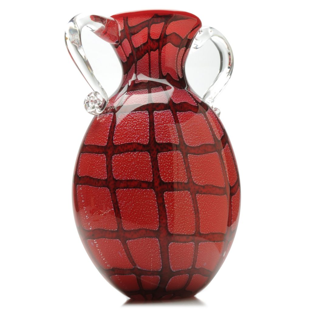 "438-431 - Favrile 12.75"" Hand-Blown Art Glass Plaid Pitcher Vase"