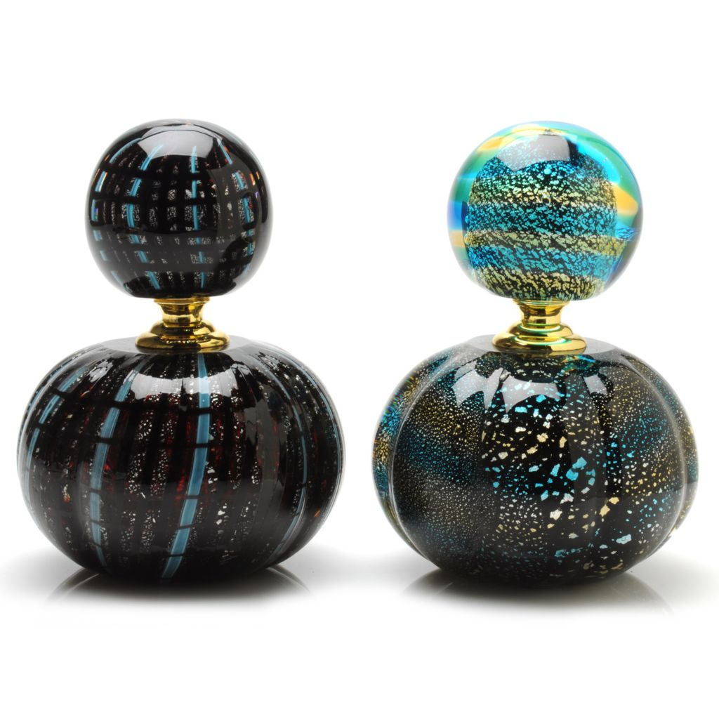 "438-432 - Favrile Two-Piece 6"" Hand-Blown Art Glass Argentina Perfume Bottle Set"