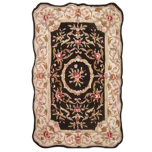 438-439 - Global Rug Gallery Hand-Tufted Wool & Artisan Silk Scalloped Edge Aubusson-Style Rug