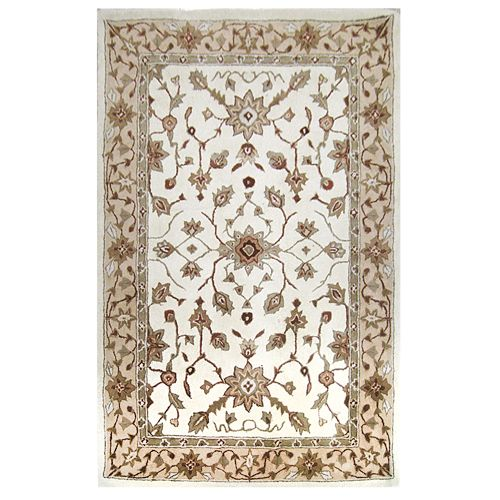 438-440 - Global Rug Gallery Floral Hand-Tufted 100% Wool Sarouck Persian-Style Rug