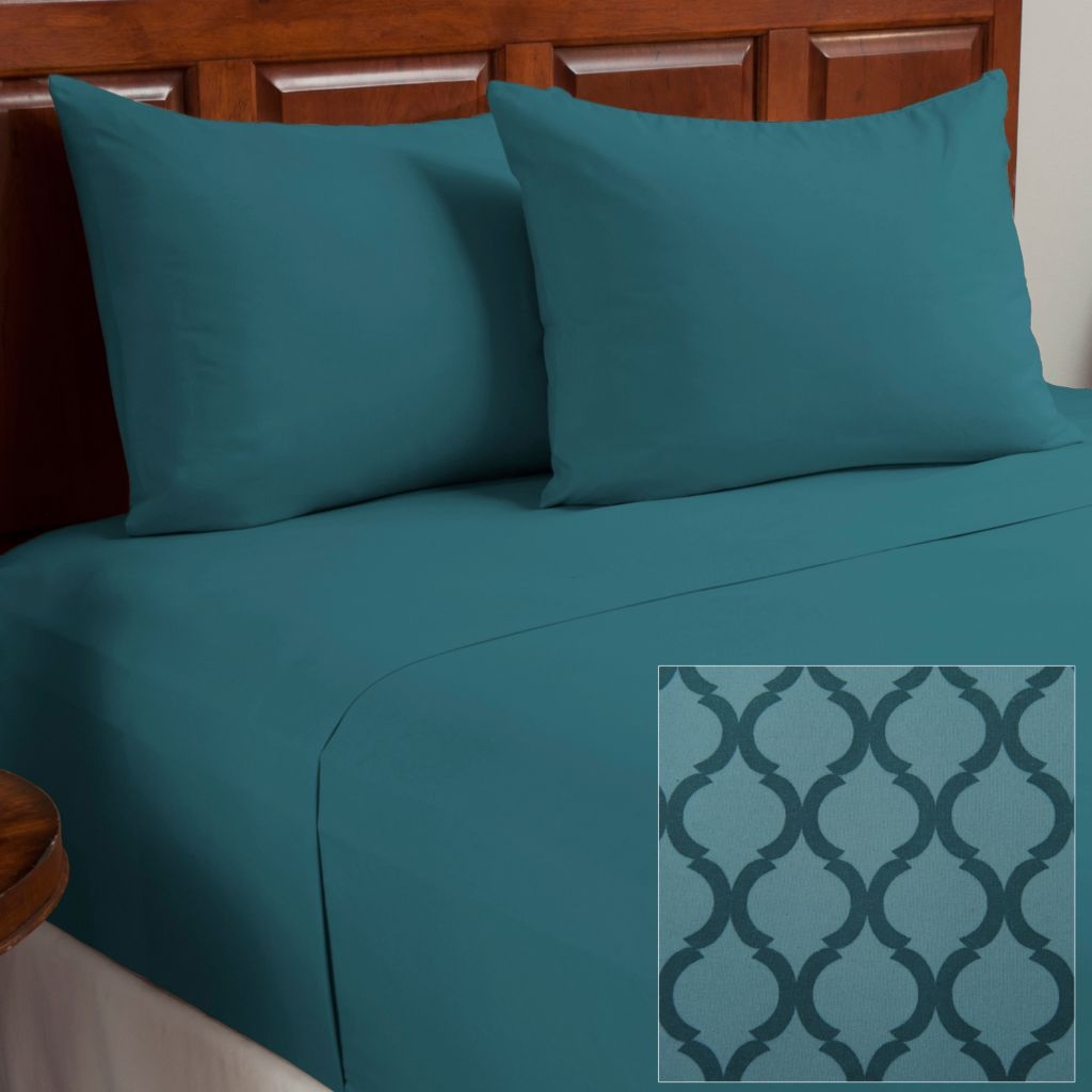 438-470 - Cozelle® Set of Two Microfiber Lattice Four-Piece Sheet Sets