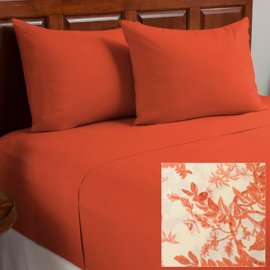 438-471 - Cozelle® Set of Two Microfiber Leaf Four-Piece Sheet Sets