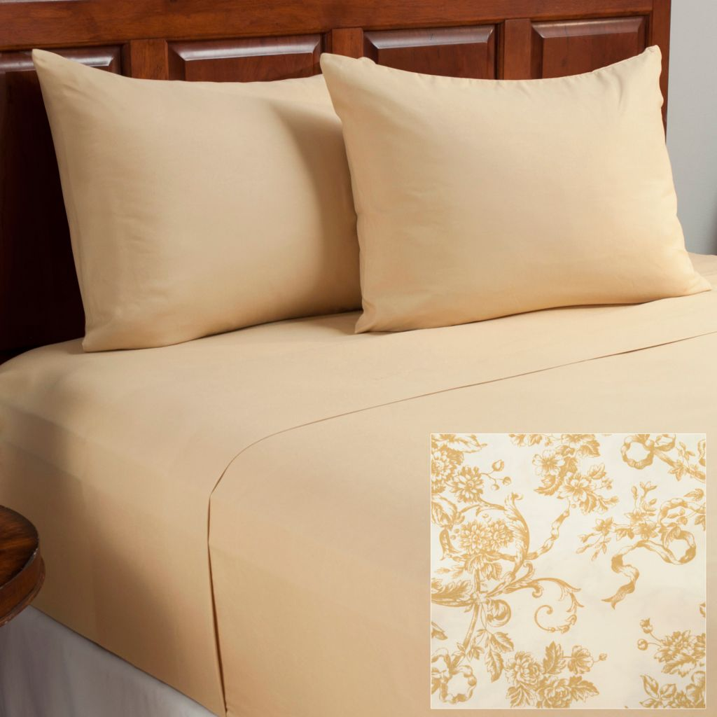 438-472 - Cozelle® Set of Two Microfiber Floral Four-Piece Sheet Sets