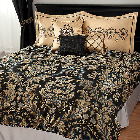 438-478 - North Shore Linens™ Damask Satin & Jacquard Six-Piece Bedding Ensemble
