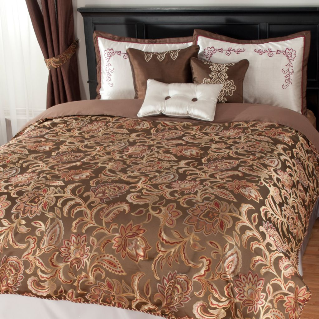 438-484 - North Shore Linens™ Floral Paisley Satin & Jacquard Six-Piece Bedding Ensemble