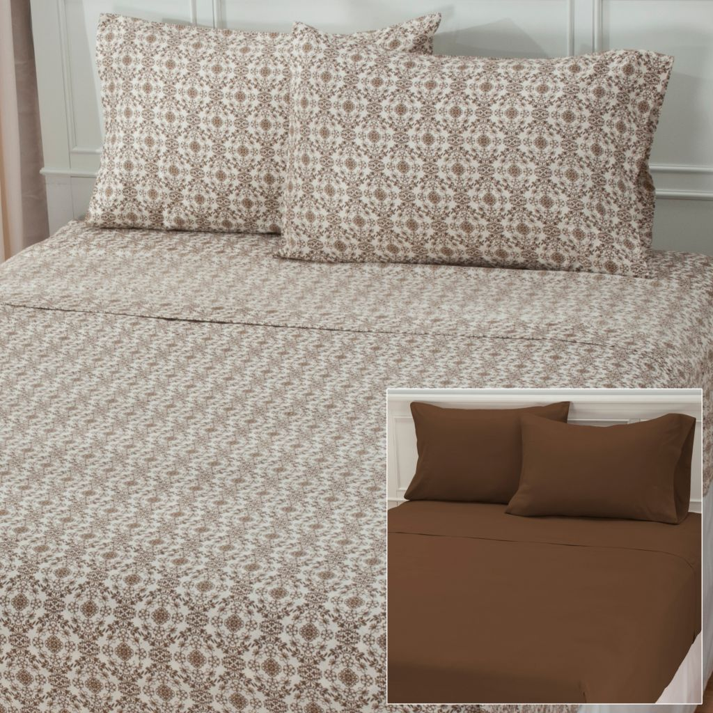 438-487 - Cozelle® Set of Two Microfiber Floral & Solid Four-Piece Sheet Sets