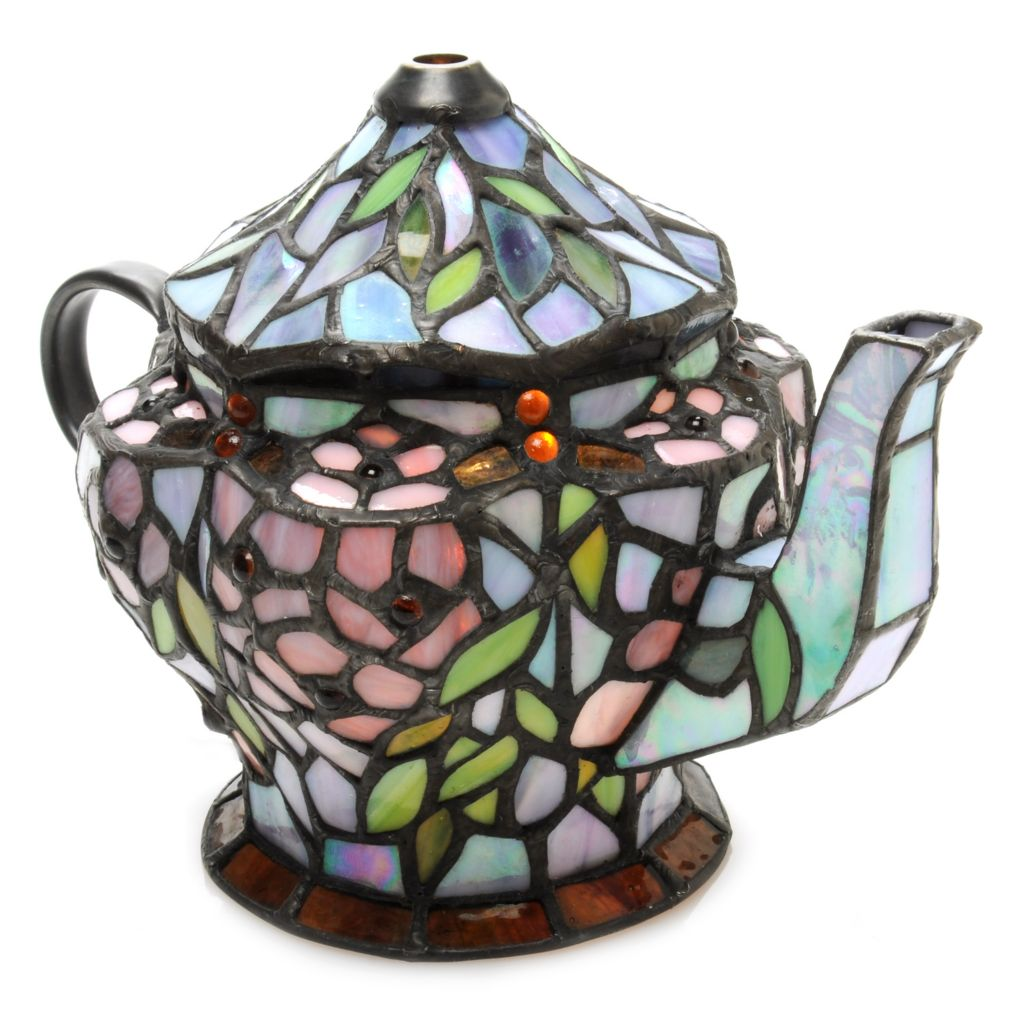 "438-527 - Tiffany-Style 6.75"" Morning Flowers Teapot Stained Glass Accent Lamp"