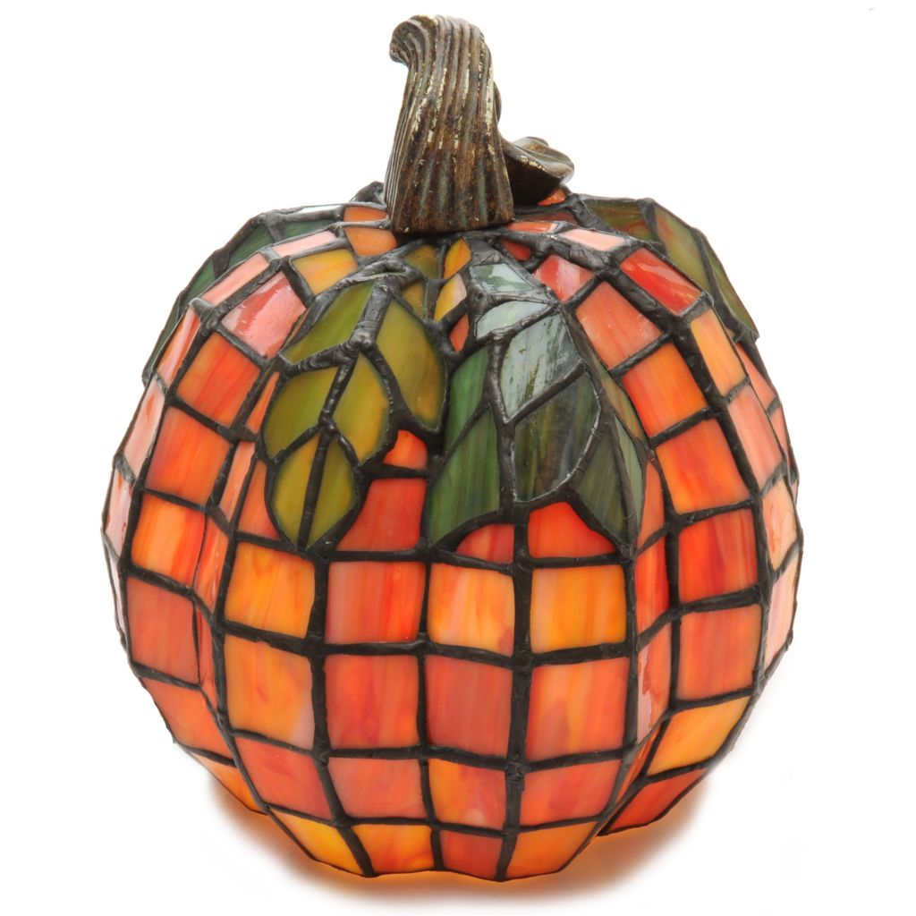 "438-534 - Tiffany-Style 8.5"" Patch the Pumpkin Stained Glass Accent Lamp"