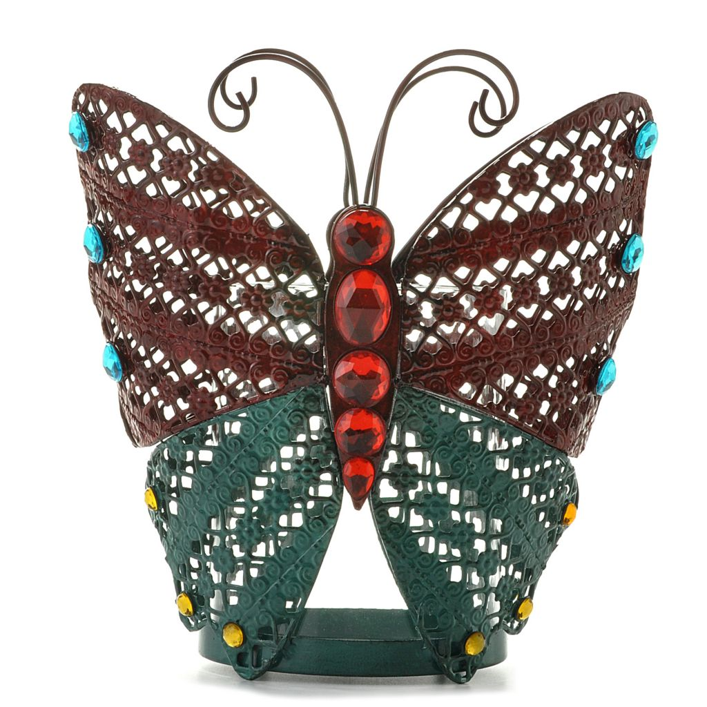 "438-537 -  Style at Home with Margie 8.25"" Butterflies Blooming Candle Holder"