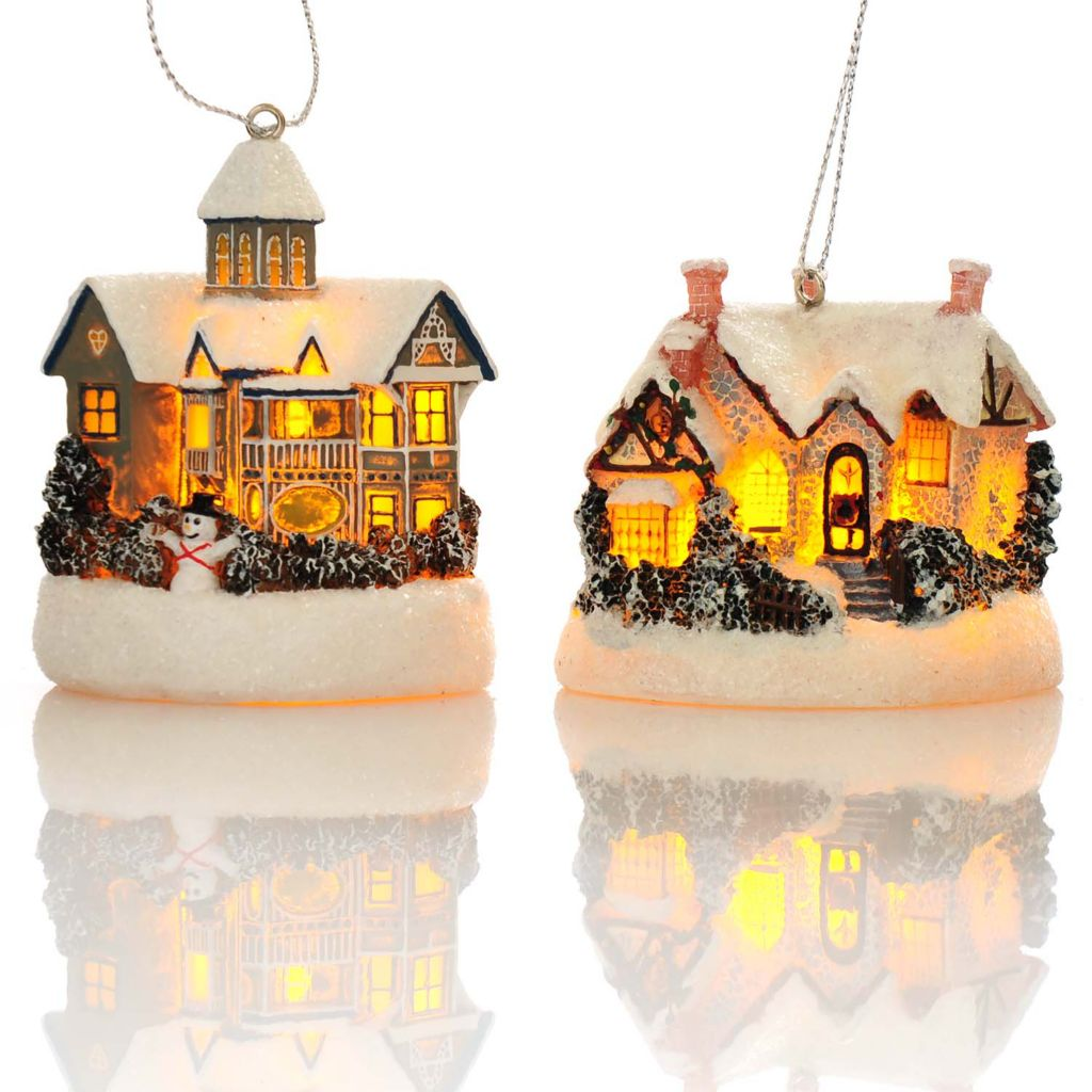 "438-632 - Thomas Kinkade Holiday Cottages Set of Two 2.5"" 3D Light-up Ornaments"