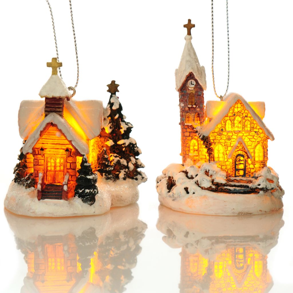 "438-633 - Thomas Kinkade Holiday Chapels 2.75"" Set of Two 3D Light-up Ornaments"