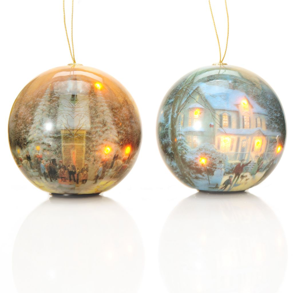 "438-634 - Thomas Kinkade Holiday Set of Two 4"" Globe Ornaments w/ Blinking LED Lights"