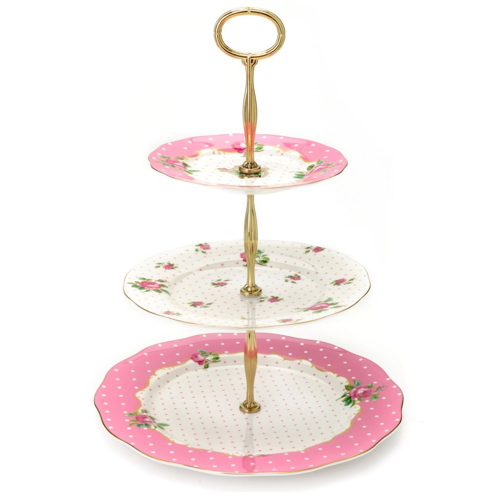 "438-652 - Royal Albert® Cheeky Pink 14"" Bone China Three-Tier Cake Stand"