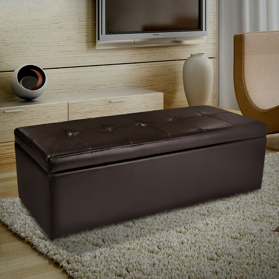 438-733 - Christopher Knight Home™ Abigail Brown Leather Storage Ottoman