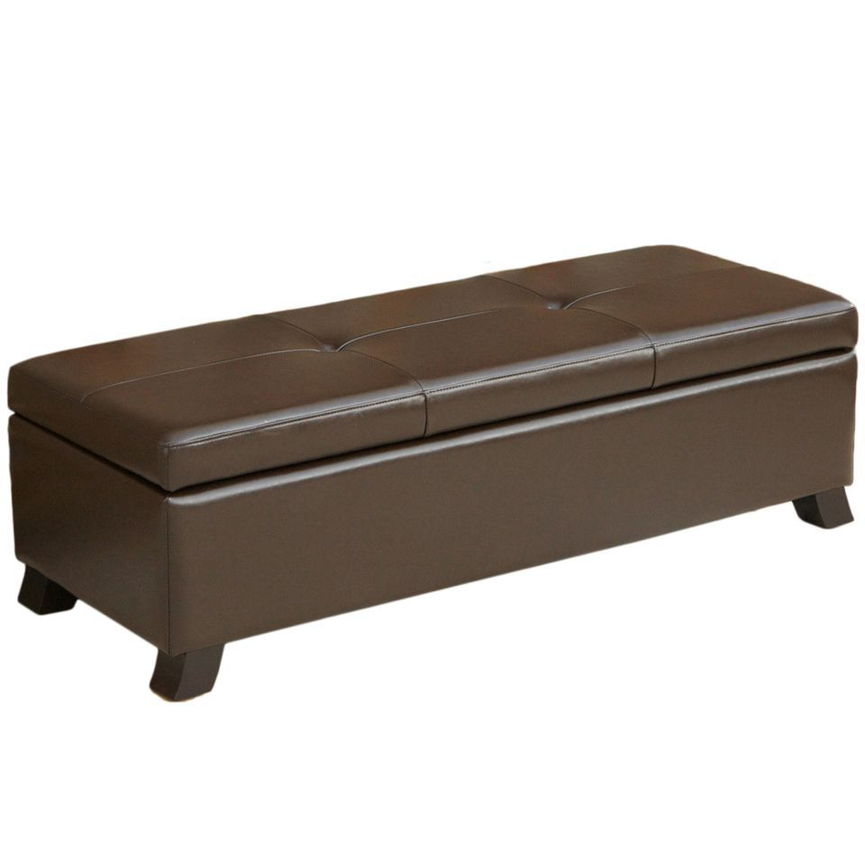 438-745 - Christopher Knight Home™ Canbridge Brown Leather storage Ottoman