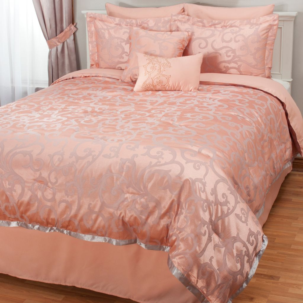 438-763 - North Shore Linens™ Scrolling Satin Jacquard Eight-Piece Bedding Ensemble