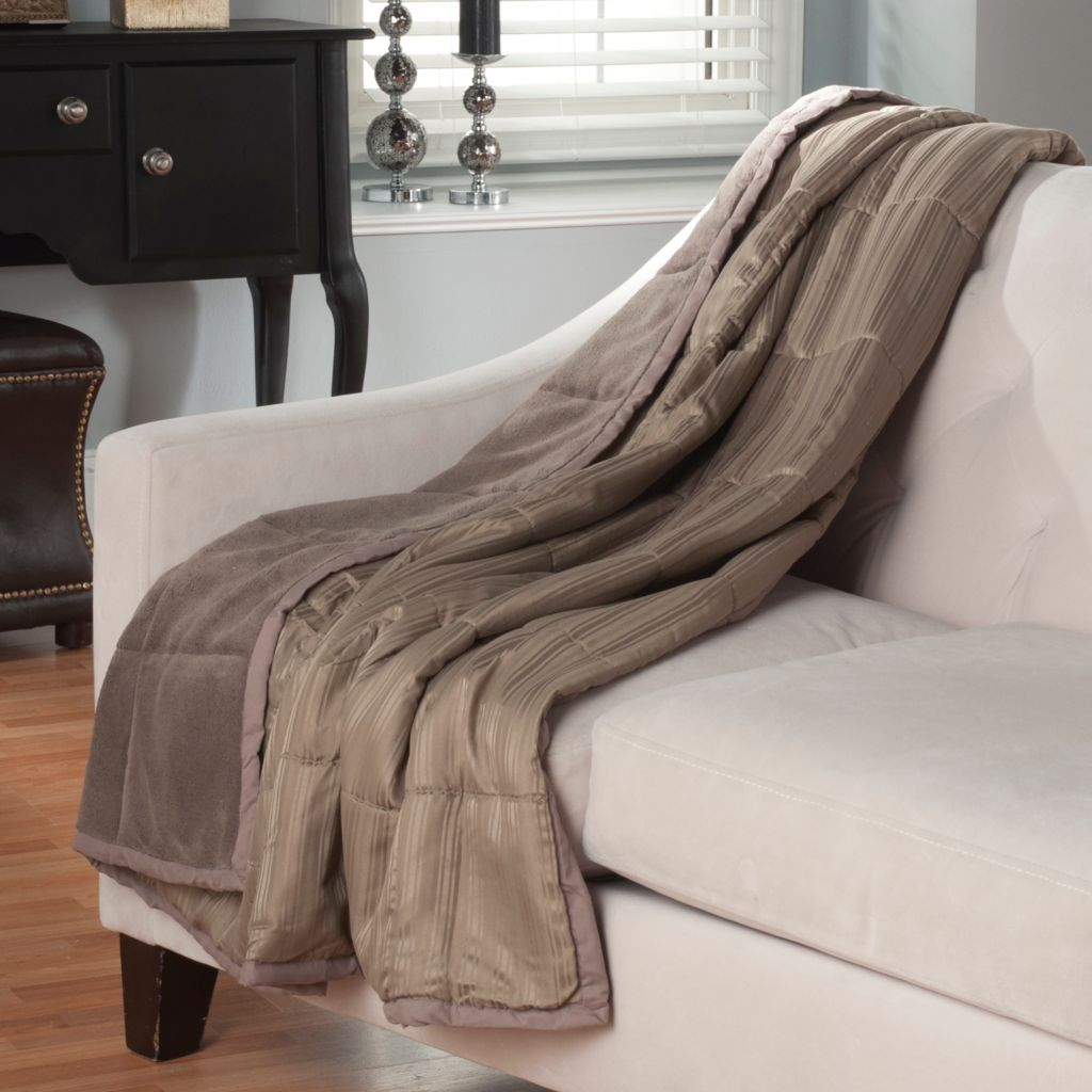 "438-766 - Cozelle® Microfiber 60"" x 50"" Down Alternative Striped Throw"