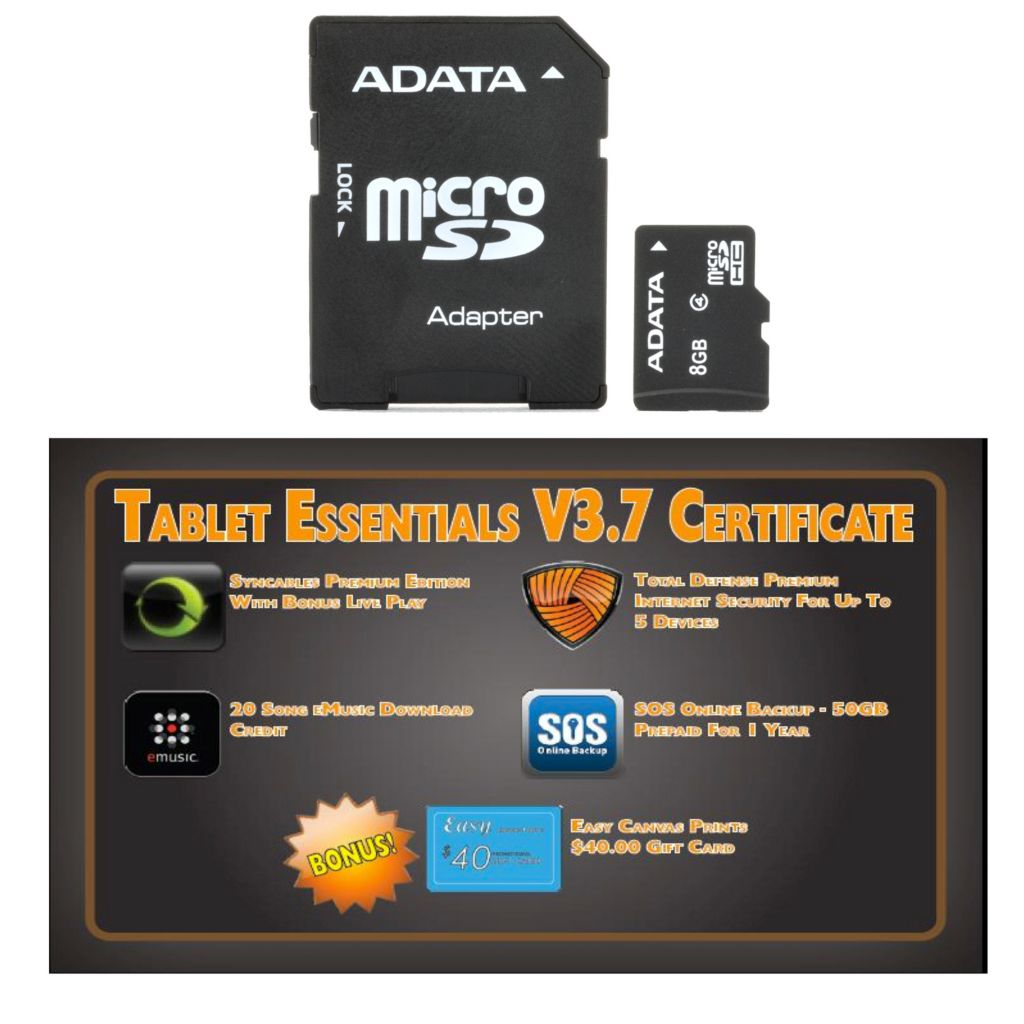 438-774 - Tablet Essentials v3.7 Software & 8GB Micro SDHC Memory Card w/ Adapter